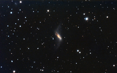 "NGC660: Polar Ring Galaxy in Pisces, 34 x 10 minutes, F/10, 12/17/2011. Celestron 8"" EdgeHD with Astro-Physics Mach1GTO GEM. SXVR-M25C. IDAS LPS Filter. Hutech OAG. Lodestar. Pre-Processed (BPM, Bias, Flats Calibration and Debayer) with Nebulosity. Post-processed with PixInsight. PHD settings: RA Aggressiveness: 90, RA Hysteresis: 10, Max Dec Duration: 50, Min Motion: 0.30, Calibration Steps: 100msec, Auto/Resist Switching, No Dithering, 0.5 sec guiding exposure."