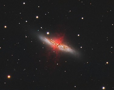 "M82: Cigar Galaxy in Ursa Major. HaRGB. No Luminance added. 0.46""/pixel image scale.  Astrodon 5nm Ha filter, 13 x 30 minutes, Unbinned 1x1. F/10, 2/17/2013.  Astrodon Red filter, 24 x 5 minutes, Unbinned 1x1. F/10, 3/9/2013.  Astrodon Green filter, 24 x 5 minutes, Unbinned 1x1. F/10, 3/9/2013.  Astrodon Blue filter, 27 x 5 minutes, Unbinned 1x1. F/10, 3/9/2013.   Celestron 8"" EdgeHD with Astro-Physics Mach1GTO GEM. Atik 460EX mono. Hutech OAG. Lodestar.   Captured with Nebulosity. Processed with PixInsight. PHD settings: RA Aggressiveness: 60, RA Hysteresis: 10, Max Dec Duration: 75, Min Motion: 0.70, Calibration Steps: 125msec, Auto/Resist Switching, Extreme dithering and Settled at < 0.5, 3 sec guiding exposure."