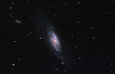 Spiral Galaxy, M106. 5/4/2011. CPC0800 F/10. Mitty Wedge. SXVR-M25C. IDAS LPS Filter. Hutech OAG. Lodestar. 26 x 10 minutes. Total 260 minutes. Processed with PixInSight.