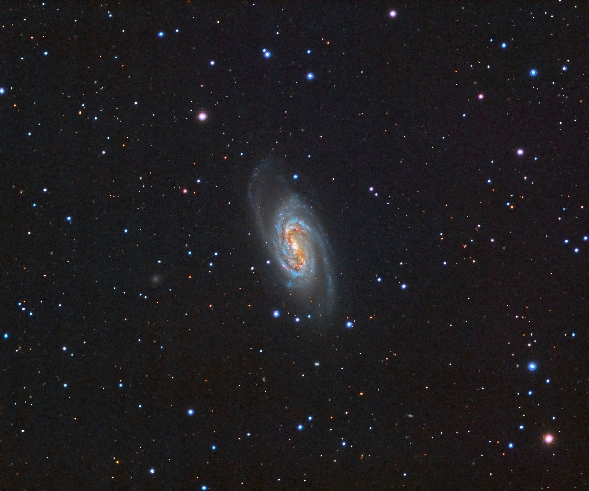 """NGC2903 Galaxy. Pseudo-LRGB. 0.96""""/pixel image scale.  Astrodon Red filter,  8 x 7 minutes, 1x1. 2/14/2015.  Astrodon Green filter, 18 x 7 minutes, 1x1. 2/14/2015.   Astrodon Blue filter, 18 x 7 minutes, 1x1. 2/14/2015. Pseudo-Luminance from RGB.  TEC 140 APO F/7 with Astro-Physics A-P1100GTO GEM. QSI660wsg. Guided with QSI OAG and Superstar, Optec Handy Stepper Motor focuser.   Captured and automated with SGP. Calibration and Post-processed with PixInsight. PHD2 settings: RA Aggressiveness: 60, RA Hysteresis: 10, Max RA/Dec Duration: 1000, Min Move: 0.60 pixel, Search Region: 50 pixels, Calibration Steps: 125msec, Auto/Resist Switching, Very High dithering and Settle at < 1.0 for 8 seconds, 5 sec guiding exposure."""