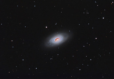 "M64: Black Eye Galaxy in Coma Bernice, 32 x 10 minutes, F/10, 4/21/2012 and 5/11/2012. Celestron 8"" EdgeHD with Astro-Physics Mach1GTO GEM. SXVR-M25C. IDAS LPS Filter. Hutech OAG. Lodestar. Capture and pre-processed (BPM, Bias, Flats Calibration) with Nebulosity. DeBayered, stacked and post-processed with PixInsight. PHD settings: RA Aggressiveness: 60, RA Hysteresis: 10, Max Dec Duration: 75, Min Motion: 0.50, Calibration Steps: 100 msec, Auto/Resist Switching, Extreme dithering and Settled at < 0.5, 3 sec guiding exposure."
