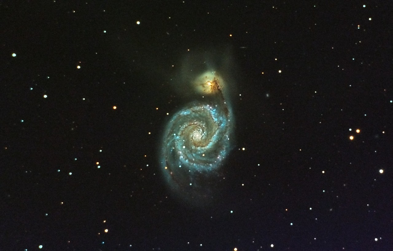 Whirlpool Galaxy, M51. 4/30/2011. CPC0800 F/10. Mitty Wedge. SXVR-M25C. IDAS LPS Filter. Hutech OAG. Lodestar. 36 x 10 minutes. Total 360 minutes. Processed with PixInSight.