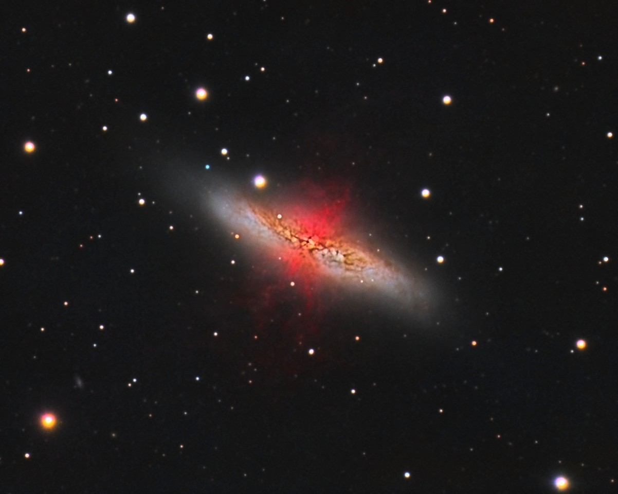 "M82: Cigar Galaxy in Ursa Major. LHaRGB. 0.46""/pixel image scale. Reprocessed using calibration with PixInsight.<br /> <br /> Astrodon Luminance filter, 87 x 5 minutes, Unbinned 1x1. F/10, 2/15/2013.<br /> Astrodon 5nm Ha filter, 13 x 30 minutes, Unbinned 1x1. F/10, 2/17/2013. <br /> Astrodon Red filter, 24 x 5 minutes, Unbinned 1x1. F/10, 3/9/2013. <br /> Astrodon Green filter, 24 x 5 minutes, Unbinned 1x1. F/10, 3/9/2013. <br /> Astrodon Blue filter, 27 x 5 minutes, Unbinned 1x1. F/10, 3/9/2013. <br /> <br /> Celestron 8"" EdgeHD with Astro-Physics Mach1GTO GEM. Atik 460EX mono. Hutech OAG. Lodestar. <br /> <br /> Captured with Nebulosity. Processed with PixInsight. PHD settings: RA Aggressiveness: 60, RA Hysteresis: 10, Max Dec Duration: 75, Min Motion: 0.70, Calibration Steps: 125msec, Auto/Resist Switching, Extreme dithering and Settled at < 0.5, 3 sec guiding exposure."