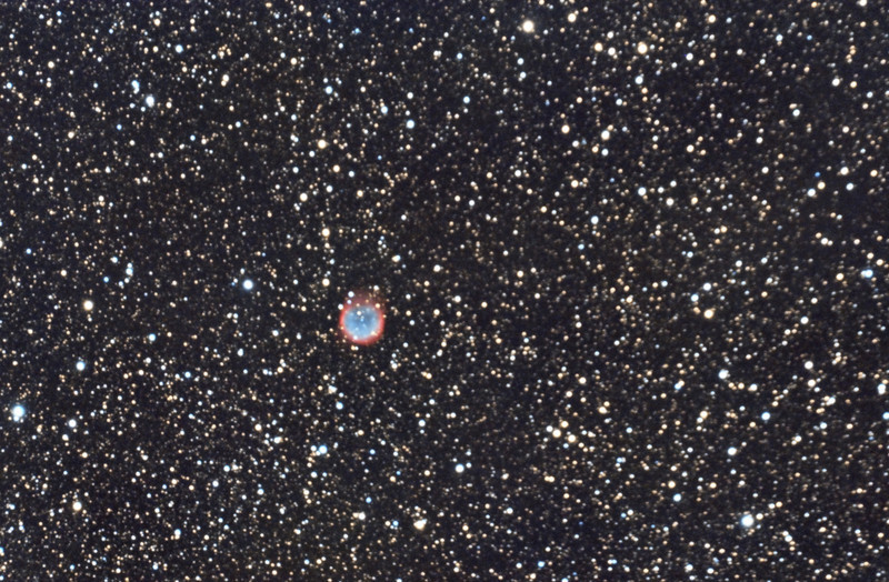"""NGC6781: Planetary Nebula in Aquila, 18 x 10 minutes, F/10, 6/24/2012. Seeing was bad. Celestron 8"""" EdgeHD with Astro-Physics Mach1GTO GEM. SXVR-M25C. Hutech OAG. Lodestar. Capture and pre-processed (BPM, Bias, Flats Calibration) with Nebulosity. DeBayered, stacked and post-processed with PixInsight. PHD settings: RA Aggressiveness: 60, RA Hysteresis: 10, Max Dec Duration: 75, Min Motion: 0.50, Calibration Steps: 125msec, Auto/Resist Switching, Extreme dithering and Settled at < 0.5, 4 sec guiding exposure."""