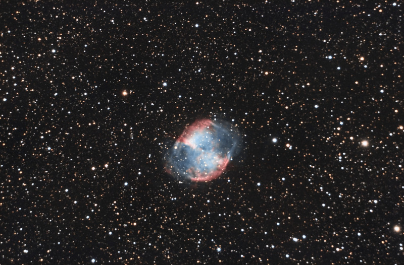 Dumbbell Nebula, M27. 9/2/2010. CPC0800 F/10. Mitty Wedge. SXVR-M25C. IDAS LPS Filter. Hutech OAG. Lodestar. 17 x 10 minutes. Total 170 minutes. Processed with PixInSight.