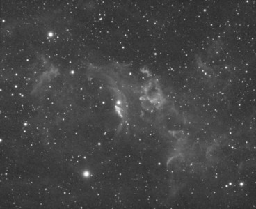 "NGC7635: Bubble Nebula in  Cassiopeia, Astrodon Sii 5nm filter, 12 x 30 minutes, Unbinned 1x1. F/10, 10/6/2012.   Celestron 8"" EdgeHD with Astro-Physics Mach1GTO GEM. Atik 460EX mono. Hutech OAG. Lodestar.   Captured and pre-processed with Nebulosity. Stacked and stretched with PixInsight. PHD settings: RA Aggressiveness: 60, RA Hysteresis: 10, Max Dec Duration: 75, Min Motion: 0.70, Calibration Steps: 125msec, Auto/Resist Switching, Extreme dithering and Settled at < 0.5, 3 sec guiding exposure."