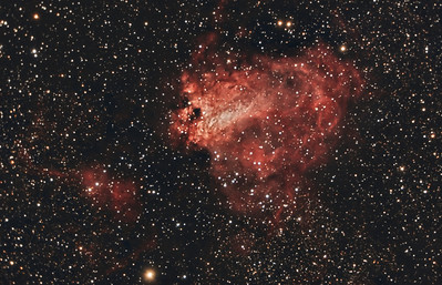 Omega Nebula, M17. 8/13/2010. CPC0800 F/6.3 focal reducer. Mitty Wedge. SXVR-M25C. IDAS LPS Filter. Hutech OAG. Lodestar. 18 x 10 minutes. Total 180 minutes. Processed with PixInsight.