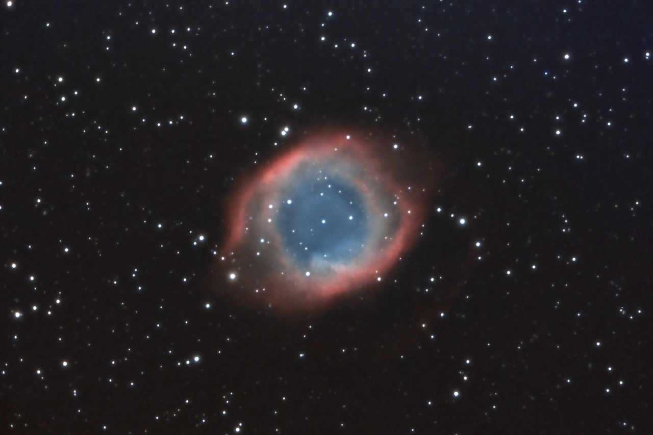 Helix Nebula, NGC7293. 9/10/2010 and 9/11/2010. CPC0800 F/6.3 focal reducer. Mitty Wedge. SXVR-M25C. IDAS LPS Filter. Hutech OAG. Lodestar. 18 x 10 minutes. Total 180 minutes. Processed with PixInsight.