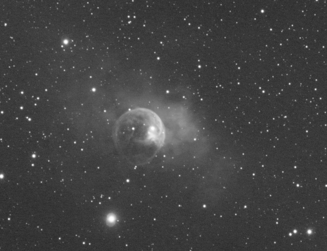 """NGC7635: Bubble Nebula in  Cassiopeia, Astrodon Oiii 5nm filter, 31 x 15 minutes, Unbinned 1x1. F/10, 9/7/2012. Seeing condition was bad.  Celestron 8"""" EdgeHD with Astro-Physics Mach1GTO GEM. Atik 460EX mono. Hutech OAG. Lodestar.   Captured and pre-processed with Nebulosity. Stacked and stretched with PixInsight. PHD settings: RA Aggressiveness: 90, RA Hysteresis: 10, Max Dec Duration: 75, Min Motion: 0.70, Calibration Steps: 125msec, Auto/Resist Switching, Extreme dithering and Settled at < 0.5, 4 sec guiding exposure."""