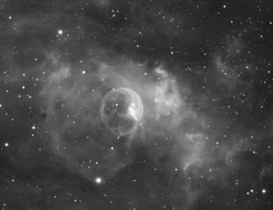 "NGC7635: Bubble Nebula in  Cassiopeia, Astrodon Ha 5nm filter, 21 x 15 minutes, Unbinned 1x1. F/10, 8/24/2012.  0.46""/pixel.  Celestron 8"" EdgeHD with Astro-Physics Mach1GTO GEM. Atik 460EX mono. Hutech OAG. Lodestar.   Captured and pre-processed with Nebulosity. Stacked and stretched with PixInsight. PHD settings: RA Aggressiveness: 60, RA Hysteresis: 10, Max Dec Duration: 75, Min Motion: 0.70, Calibration Steps: 125msec, Auto/Resist Switching, Extreme dithering and Settled at < 0.5, 3 sec guiding exposure."