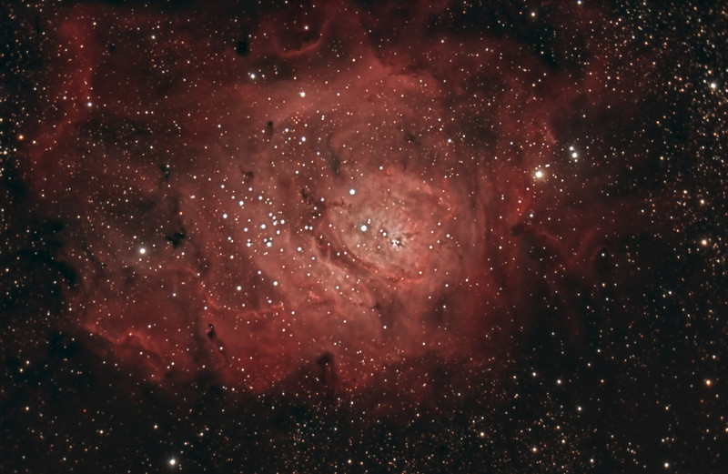 Lagoon Nebula, M8. 8/6/2010 and 8/12/2010. CPC0800 F/6.3 focal reducer. Mitty Wedge. SXVR-M25C. IDAS LPS Filter. Hutech OAG. Lodestar. 6 x 5 minutes and 16 x 10 minutes. Total 190 minutes. Processed with PixInSight.
