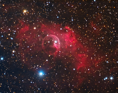 "NGC7635: Bubble Nebula in Cassiopeia. 0.47""/pixel. 9/15/2012 (RGB)  Astrodon Red: 8 x 10 minutes, 1x1, Less than ideal seeing condition Astrodon Green: 8 x 10 minutes, 1x1, Less than ideal seeing condition Astrodon Blue: 8 x 10 minutes, 1x1, Less than ideal seeing condition  Created pseudo Luminance by extracting Luminance from RGB using PixInsight and apply to RGB.  Celestron 8"" EdgeHD at F/10 with A-P Mach1GTO GEM. Atik 460EX mono. Hutech OAG. Lodestar.  Captured and pre-processed with Nebulosity. Stacked and post processed with PixInsight. PHD settings: RA Aggressiveness: 90, RA Hysteresis: 10, Max Dec Duration: 75, Min Motion: 0.70, Calibration Steps: 125msec, Auto/Resist Switching, Extreme dithering and Settled at < 0.5, 3 - 4 sec guiding exposure."