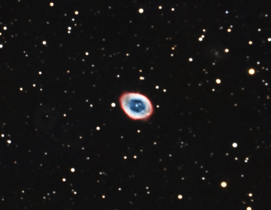 "M57: Ring Nebula in Lyra, 12 x 5 minutes, F/10, 7/14/2012. Celestron 8"" EdgeHD with Astro-Physics Mach1GTO GEM. SXVR-M25C. Hutech OAG. Lodestar. Capture and pre-processed (BPM, Bias, Flat Calibration) with Nebulosity. DeBayered, stacked and post-processed with PixInsight. PHD settings: RA Aggressiveness: 60, RA Hysteresis: 10, Max Dec Duration: 75, Min Motion: 0.70, Calibration Steps: 125msec, Auto/Resist Switching, Extreme dithering and Settled at < 0.5, 3 sec guiding exposure. SQM: 19.3"