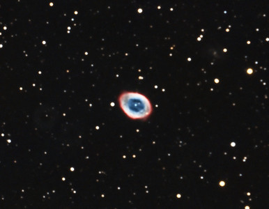 """M57: Ring Nebula in Lyra, 12 x 5 minutes, F/10, 7/14/2012. Celestron 8"""" EdgeHD with Astro-Physics Mach1GTO GEM. SXVR-M25C. Hutech OAG. Lodestar. Capture and pre-processed (BPM, Bias, Flat Calibration) with Nebulosity. DeBayered, stacked and post-processed with PixInsight. PHD settings: RA Aggressiveness: 60, RA Hysteresis: 10, Max Dec Duration: 75, Min Motion: 0.70, Calibration Steps: 125msec, Auto/Resist Switching, Extreme dithering and Settled at < 0.5, 3 sec guiding exposure. SQM: 19.3"""