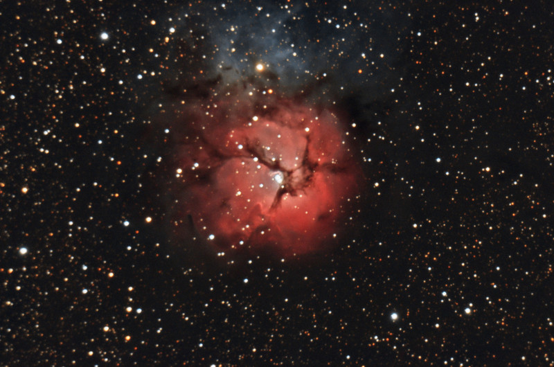 Trifid Nebula, M20. 7/9/2010. CPC0800 F/10. Mitty Wedge. SXVR-M25C. IDAS LPS Filter. Hutech OAG. Lodestar. 14 x 10 minutes. Total 140 minutes. Processed with PixInSight.