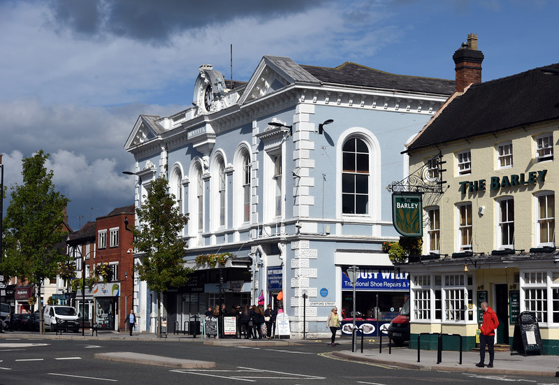 Newport.<br /> The (former?) Town Hall and Barley Mow PH.