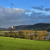 The river Severn flooding and Ironbridge power station viewed from Leighton.