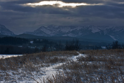 The view of the Rocky Mountains near Peigan Post.
