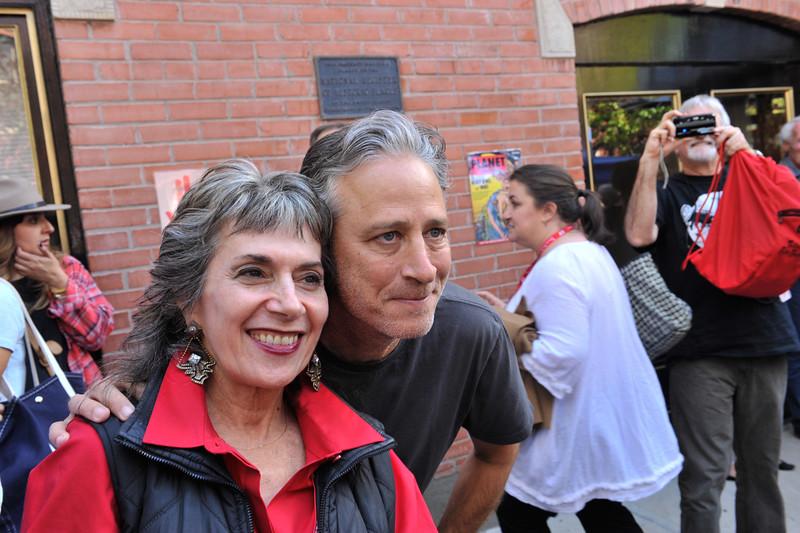 Annette Insdorf and Jon Stewart attend the Camp Telluride Photo Opp