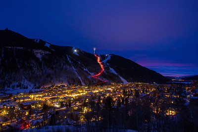 Torchlight parade down into the town of Telluride Colorado