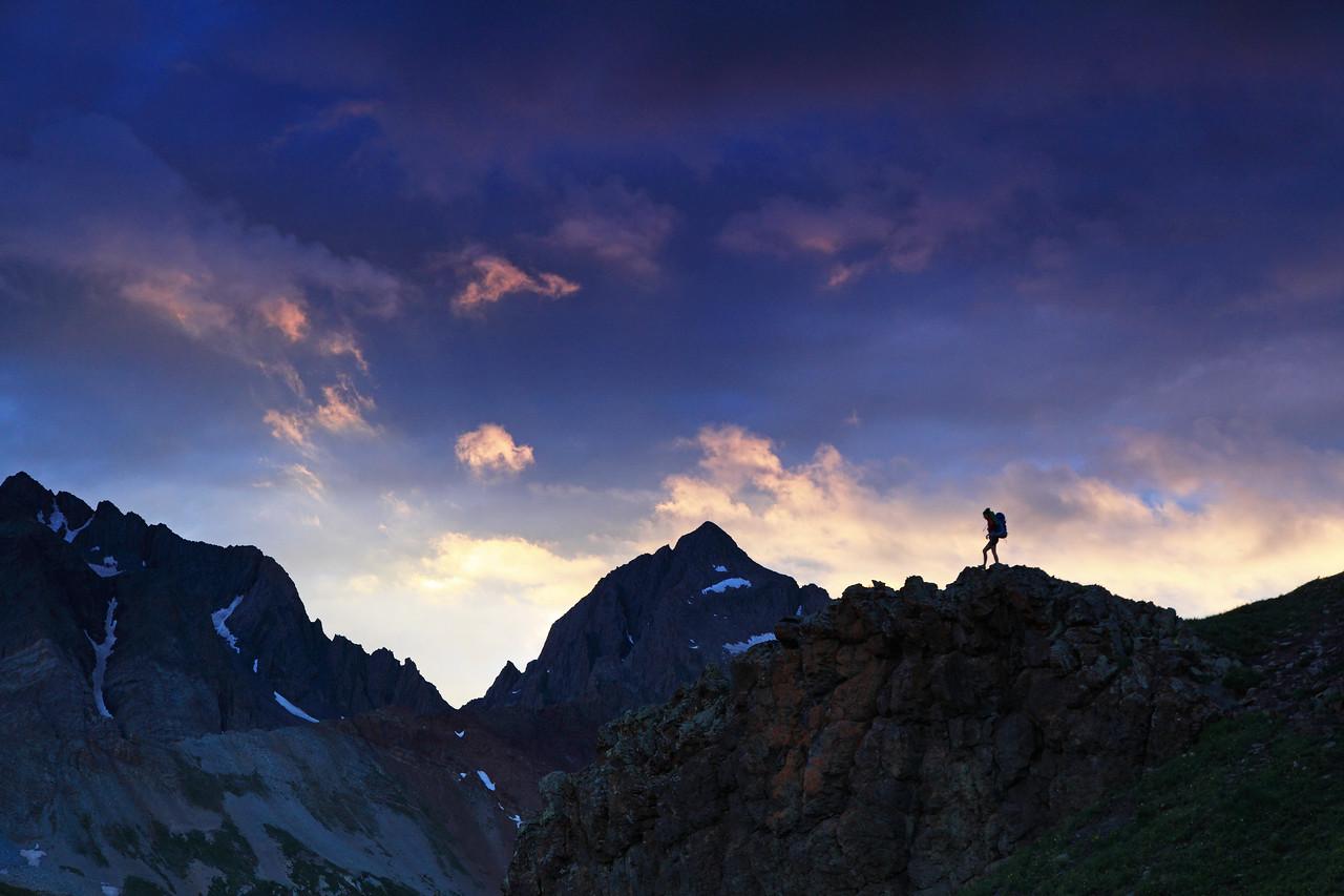 A female backpacker in the Wilson range near Telluride Colorado