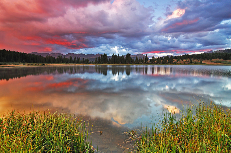 The most magnificent sunset I have ever witnessed at Little Molas Lake, Colorado.