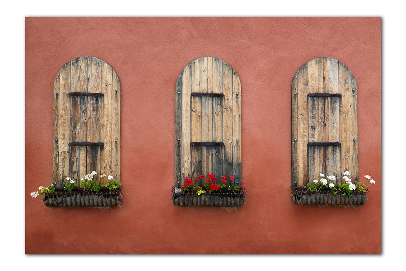 Flower boxes on wall