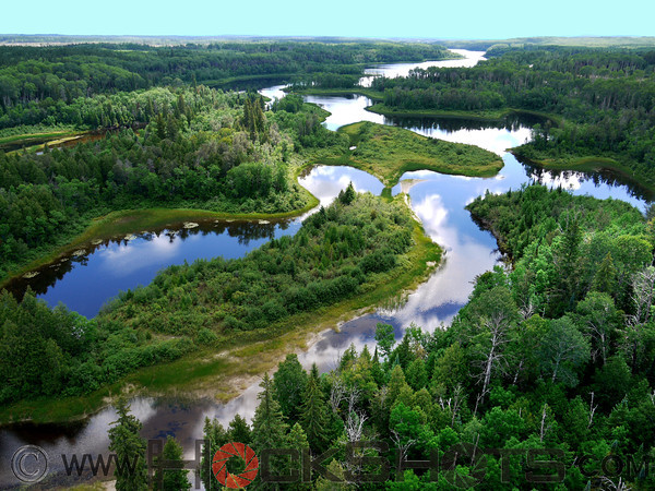 Looking southeast down the Montreal River from a site about 5 kilometers above Elk Lake known locally as Cedar Island.