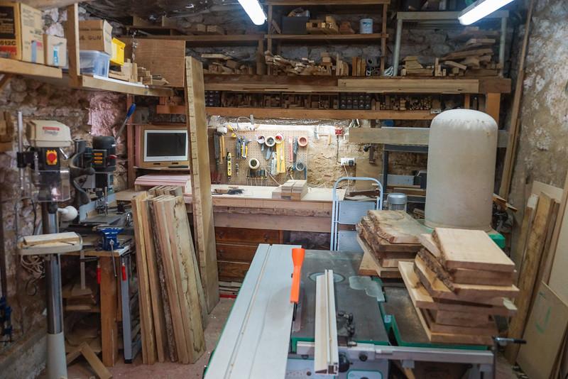 Rough planks cross cut