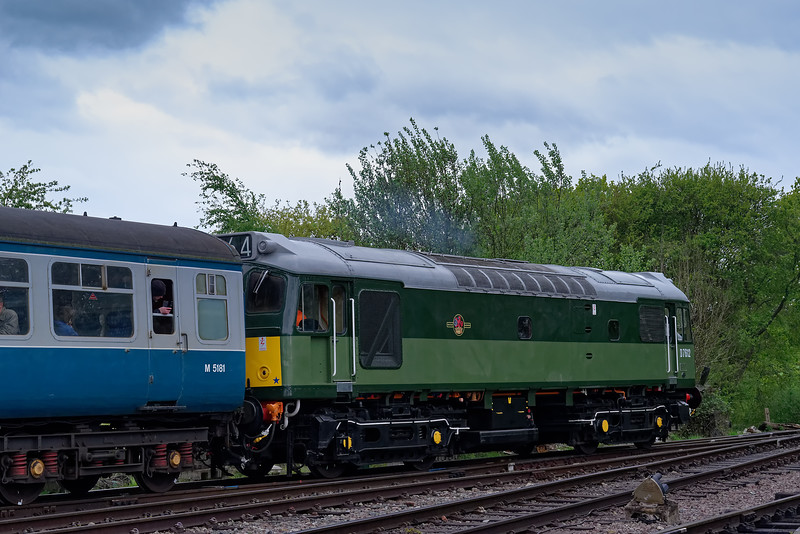 25262 departing North Weald, with the 13:55 Ongar - Epping Forest, on 27th April 2019.