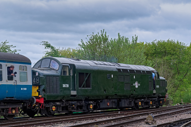 37029 departs from North Weald, with the 12:15 Ongar - Epping Forest, on 27th April 2019.