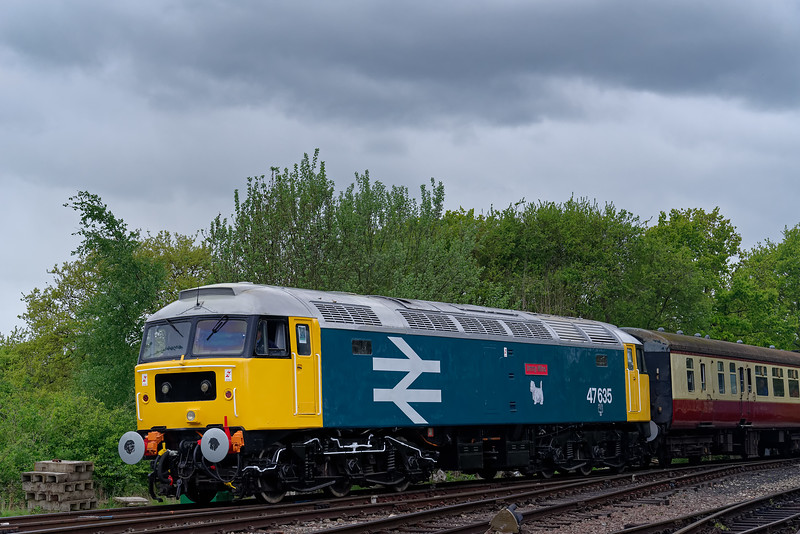 47635 departs from North Weald on the rear of the 10:35 Ongar - Epping Forest, <br /> on 27th April 2019.