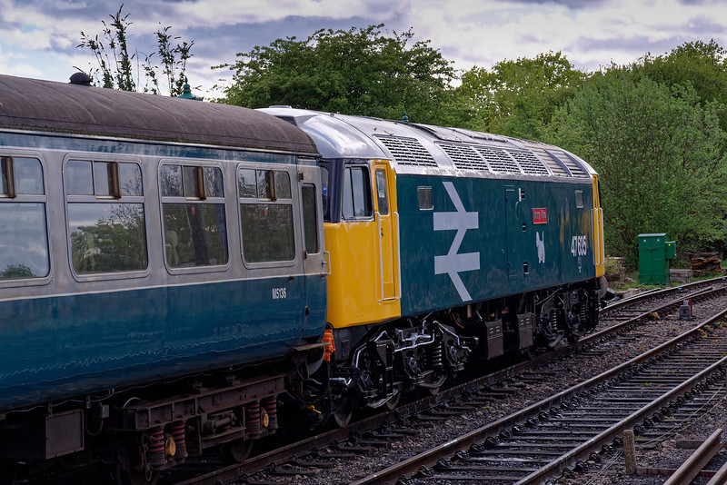 47635 stands at North Weald, after arrival with the 17:18 Epping Forest - North Weald, <br /> on 27th April 2019.