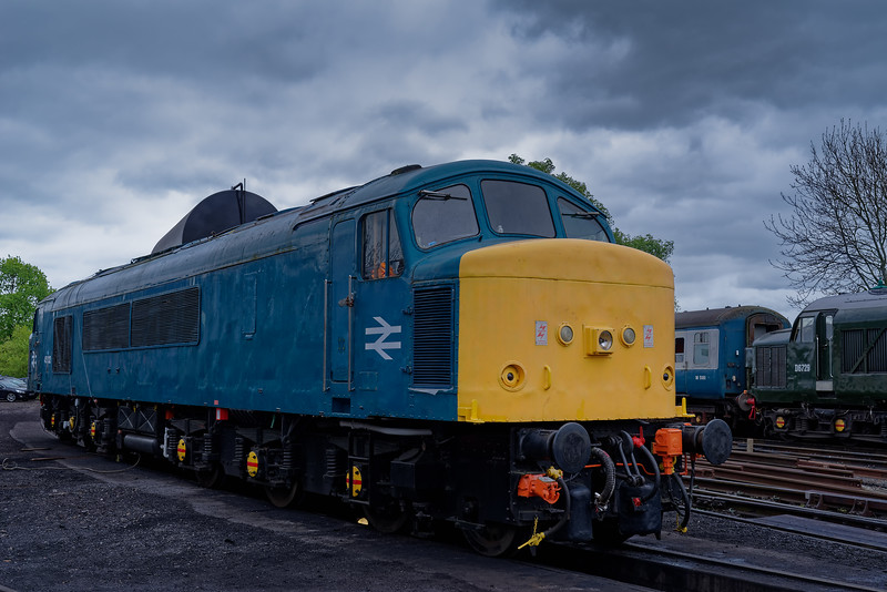 45132 on static display at North Weald, with 37029 waiting departure <br /> with the 12:15 Ongar - Epping Forest, on 27th April 2019.