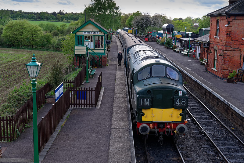 37029 stands at North Weald, after arrival with the 17:18 Epping Forest - North Weald, <br /> on 27th April 2019.