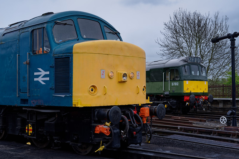45132 on static display at North Weald, with 25262 having recently arrived on the rear of the 11:18 Epping Forest - Ongar, on 27th April 2019.