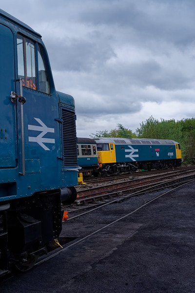 45132 on static display at North Weald, while 47635 departs with the <br /> 13:05 Ongar - Epping Forest, on 27th April 2019.