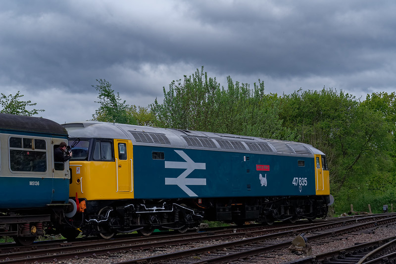 47635 departs from North Weald, with the 09:45 Ongar - Epping Forest, on 27th April 2019.