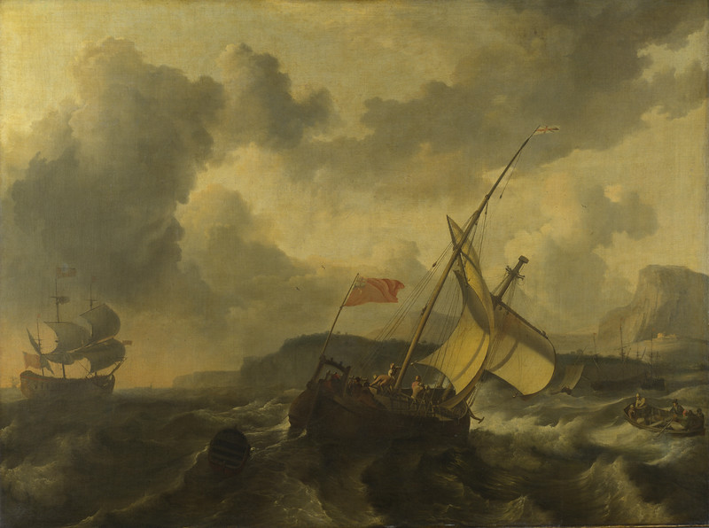 An English Vessel and a Man-of-war in a Rough Sea