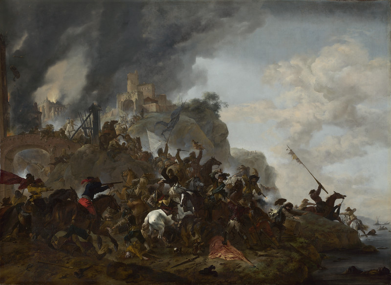 Cavalry making a Sortie from a Fort on a Hill