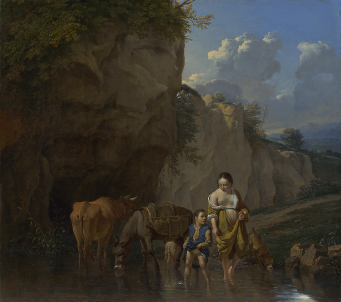A Woman and a Boy with Animals at a Ford