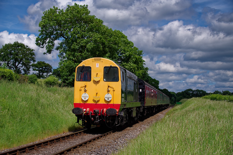 20001 at Wanders Crossing with the 13:20 Alton - Alresford, on 2nd June 2018.