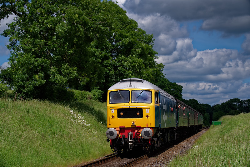47579 at Wanders Crossing with the 14:00 Alton - Alresford, on 2nd June 2018.