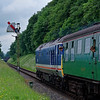50027 approaches Ropley Down Outer Home signal, with the14:00 Alton - Alresford, <br /> on 1st June 2018.