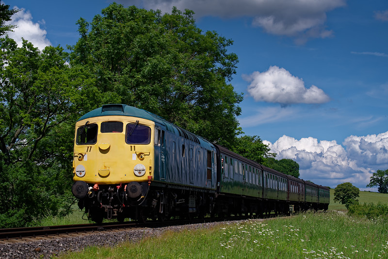 26043 comes off Wanders Curve with the 14:00 Alton - Alresford, on 3rd June 2018.
