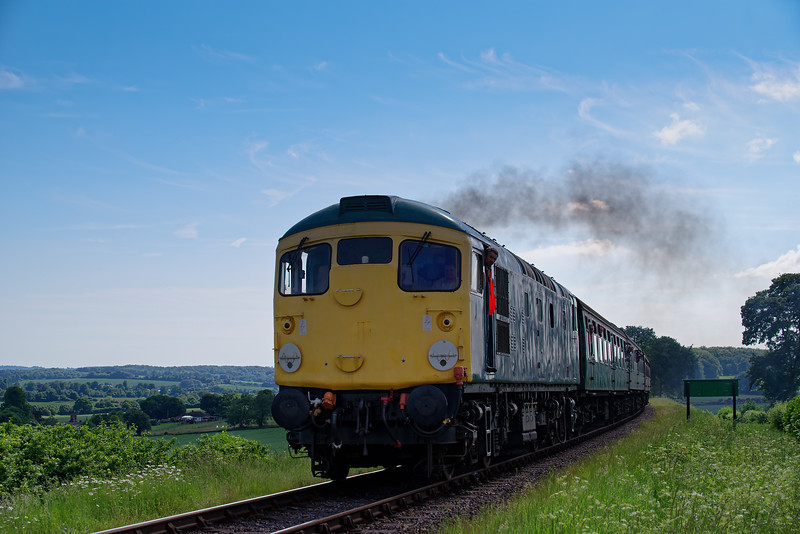 26043 on Wanders Curve with the 15:35 Alresford - Alton, on 2nd June 2018.