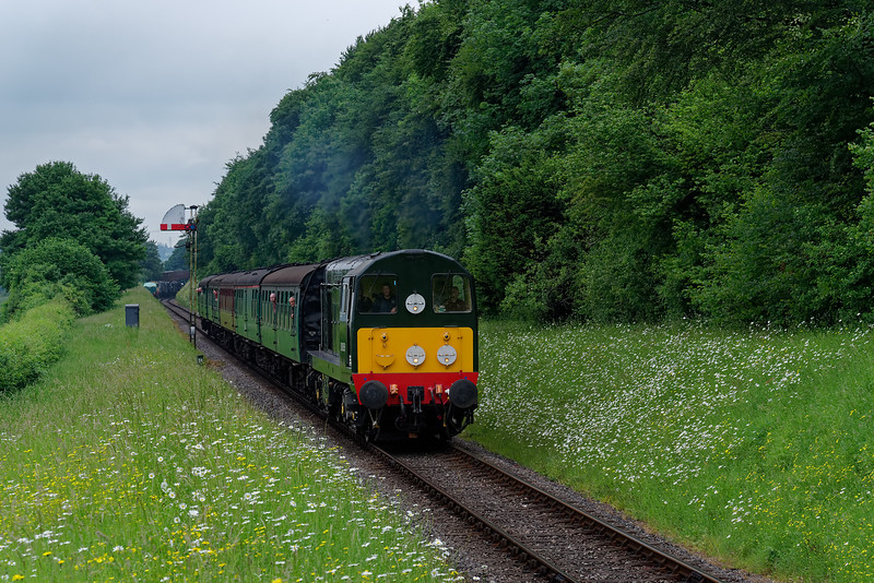 20059 passing Ropley Down Outer Home signal, with the 13:35 Alresford - Alton, <br /> on 1st June 2018.