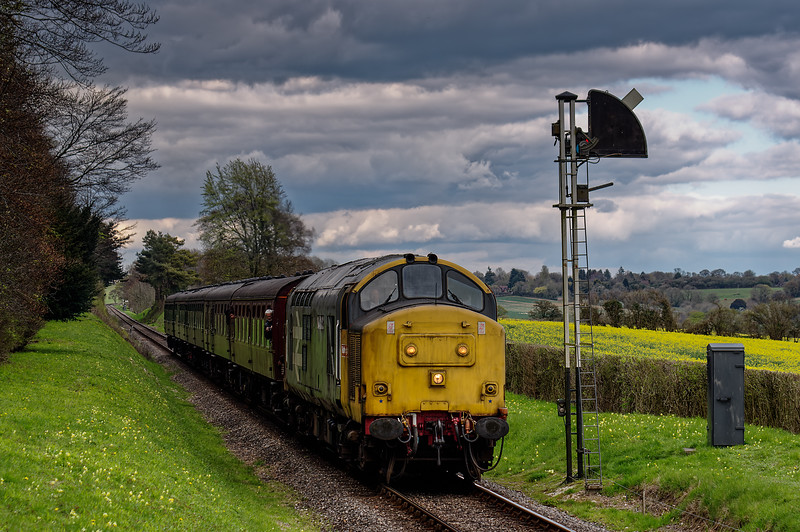 37901 passes the Ropley Down Outer Home signal, with the 15:40 Alton - Alresford, <br /> on 23rd April 2016.