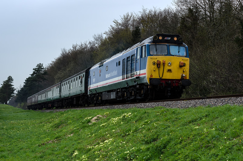 50027 at Stable Lane, with the 09:55 Alresford - Alton, on 22nd April 2016.