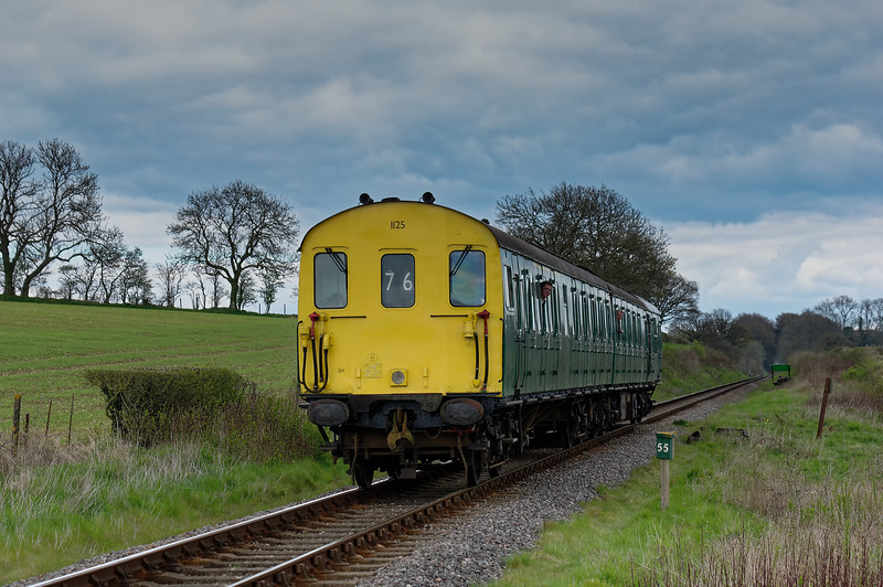 205025 at Wanders Crossing, with the 15:00 Alton - Alresford, on 23rd April 2016.